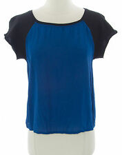 TOPSHOP Women's Blue/Black Short Sleeve Crew Neck Sweat Top 04U05A US Sz 12 NWT