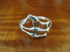Trio of Dolphins Band Sterling Silver 925 Ring Size 6