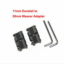 2 x 11mm Dovetail to 20mm Weaver Picatinny Rail Converter Adapter Base bn