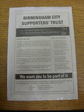 29/10/2005 Birmingham City: sostenitori fiducia-Pubblicità singolo foglio illustrativo