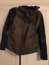 Zara khaki green faux leather sleeve jacket WORN ONCE