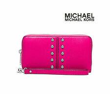 Michael Kors ASTOR CHAIN Raspberry Large Coin Case Wallet Wristlet Bag Handbag