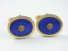 dunhill Gold Plated and Lapis Blue Oval Cufflinks (used)