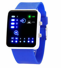 Led Binary Digital Watch Mens Fashion Casual Sport Wrist Watches Blue UK SELLER
