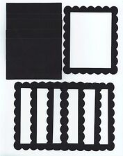 Black Cardstock Scallop Rectangle Sizzix Die Cut Photo Frames Set of 5
