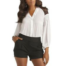 Kardashian Kollection Sexy Semi Sheer Lace Shoulder V-Front Blouse Top White L