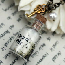Alice in Wonderland Bottle With Key and Freshwater Pearl Necklace Kitsch