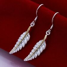 New Women's 925 Sterling Silver Plated Feather Hook Dangle Earring Studs Jewelry