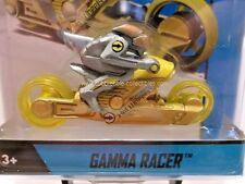 2014 Hot Wheels Gamma Racer Motorcycle in Yellow with Rider