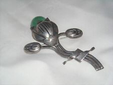 (11) Vintage Mexican Sterling Silver and Stone Flower Brooch Pin