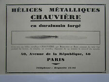 12/30 PUB HELICE CHAUVIERE HELICE DURALUMIN FORGE BOSSOUTROT ROSSI ORIGINAL AD