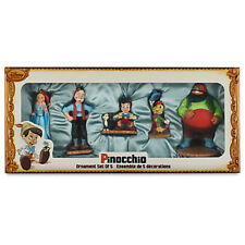 DISNEY STORE ART OF PINOCCHIO Sketchbook Christmas 5 pc Ornament Set NIB