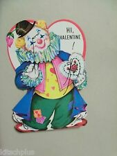 Vtg Valentine Card Circus Clown Pretty 60's Hot Pink Mod Colors Lorgnet UNUSED
