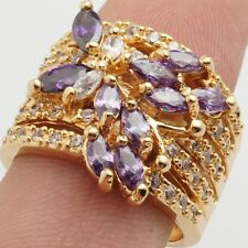 Wholesale Elegant 24K Gold Filled Purple Cubic Zircon Women's Rings Size 8