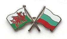 Wales & Bulgaria Flags Friendship Courtesy Enamel Lapel Pin Badge