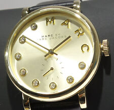 Marc Jacobs Baker MBM1399 Ladies Gold Dial Black Leather Strap Watch $225 NEW