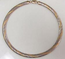 Sterling Silver Textured Two Tone Omega Chain Necklace ~ 30.3 grams ~ 12-D6523