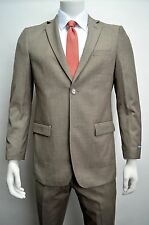 Men's Taupe Herringbone Striped 2 Button Slim Fit Suit SIZE 36S NEW