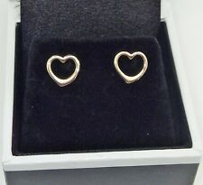 SOLID 9CT YELLOW GOLD 8MM OPEN HEART STUD EARRINGS - IDEAL GIFT FOR A YOUNG LADY