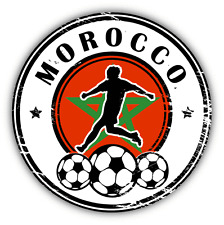 "Morocco Stamp Grunge Football Soccer Sport Car Bumper Sticker Decal 5"" x 5"""