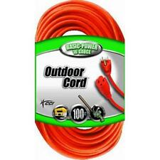 Coleman Cable Vinyl Heavy Duty Outdoor Power Extension Cord Orange 100-Feet Foot