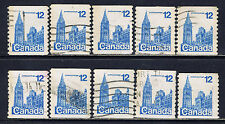 Canada #729(2) 1977 12 cent blue HOUSES OF PARLIAMENT COIL PERF 10, 10 Used