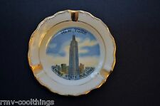 Porcelain Souvenir Ashtray, New York Empire State Building, 14K GP, VINTAGE