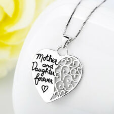 "925 Sterling Silver ""Mother and Daughter Forever"" Heart Pendant Necklace 18"""