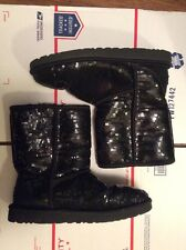 UGG Classic Short Sparkles Black Sequin Sheepskin Boots US 9 Womens 3161 FS