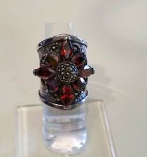 Artisan Thai Silver Wide Band Garnet Flower Ring 6 1/2""