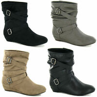 LADIES PULL ON ANKLE BOOTS SIZES 3-8 SMALL WEDGE F50068 BUCKLED STRAPS