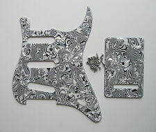 ST Strat Pickguard,Back Plate and Screws SSS White/Black Shell