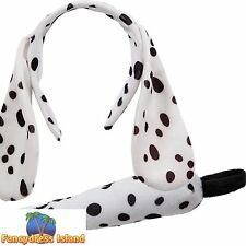 BLACK DALMATION DOG EARS ON HEADBAND + TAIL Boys Girls Child Fancy Dress Costume