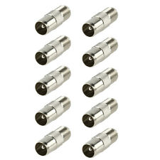 10x F Connector Socket to Coax Male Plug TV Adaptor