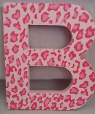 Leopard Print Personalized Initials Pink Letter B Wooden Wall Sign Room Decor