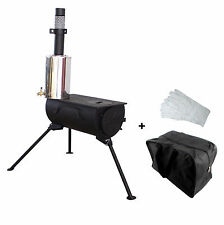 Frontier Portable Wood Burning Stove with Water Heater Camping Cooker Carry Bag