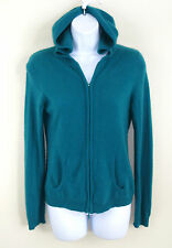 LORD & TAYLOR 100% Cashmere Hooded Full-Zip Hoodie Pockets Green Teal Size S