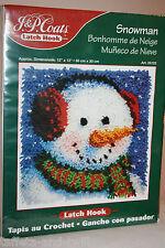 "Snowman Latch Hook Kit New Christmas Rug Winter Holiday 25122 12""x12""  J P Coats"