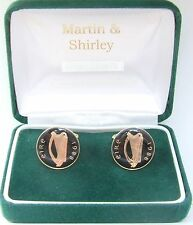 1988 IRISH Cufflinks made from old IRELAND  coins in Black & Gold