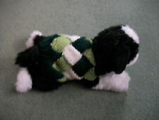 """HAND KNITTED ENTRELAC,8"""".XSMALL DOG COAT/JUMPER,GREENS AND CREAM"""