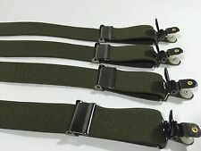 4-Pack Military Style OLIVE GREEN Shirt Stays with the No Slip Clip
