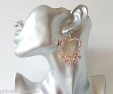 Beautiful gold tone & pink diamante - crystal heart shaped drop earrings, NEW