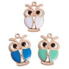 20x Hot Sale Mixed Candy Color Enamel Owl Gold Tone Alloy Charms Pendants 34mm L