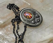 SALE Red Rose Fire Dragons Breath Glass Opal Gunmetal Victorian Locket Necklace