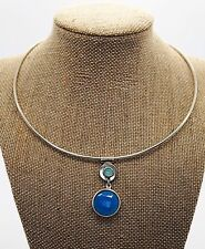 DOMINIQUE DINOUART Sterling Silver Blue Chalcedony Collar Necklace