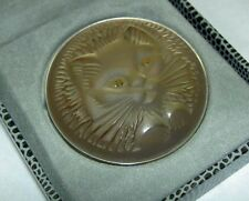 RARE Authentic LALIQUE Cat Chat Satin Grey Crystal Pin Brooch in Original Box