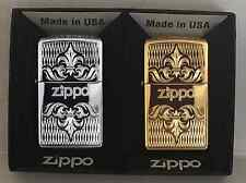 Zippo Collectors Set Of 2 Regal Lighters, Chrome and Brass With Zippo Logo