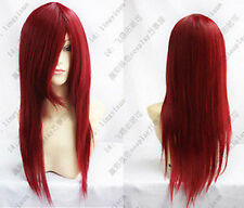 New style dark red Cosplay long straight wig + gift