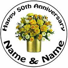 """Personalised 50th Golden Wedding Anniversary Round 8"""" Precut Icing Cake Topper"""