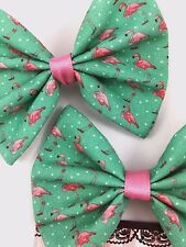 Pink Flamingos on Teal Fabric Handmade Hair Bow Summer Hair Clip Accessory
